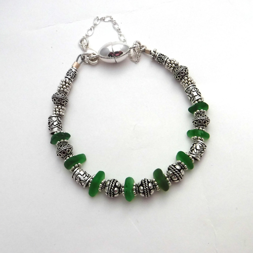 silver and green bracelet 1