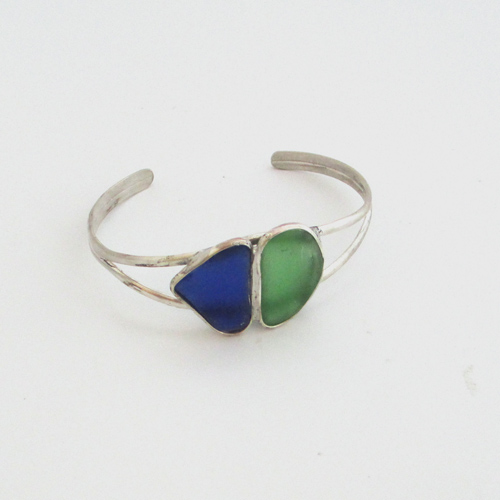 Blue Green Online >> Cobalt Blue And Jade Green Sea Glass Cuff Bracelet