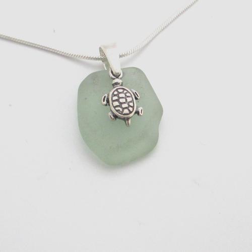 turtle sea glass necklace 1