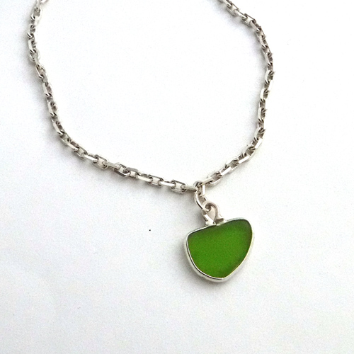 402 Green Sea Glass Anklet 1