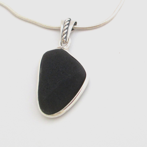 Rare black sea glass necklace
