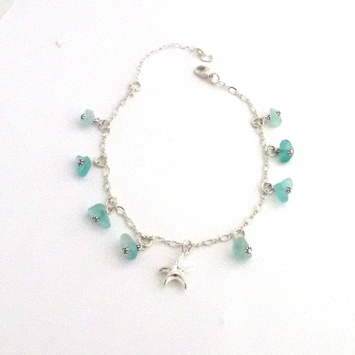 aqua sea glass anklet 1