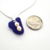 cobalt blue sea glass necklace with fresh water pearls 3