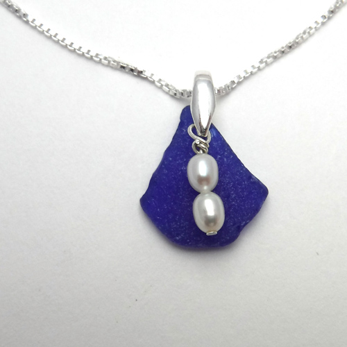 cobalt blue sea glass necklace. 1jpg
