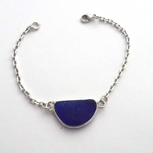 cobalt sea glass bracelet 1