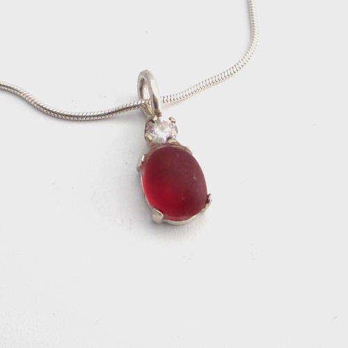dainty red sea glass necklace 1