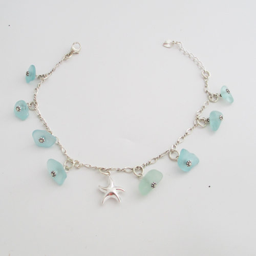 turquoise sea glass anklet 3