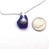 cobalt blue sea glass necklace with seashell 3