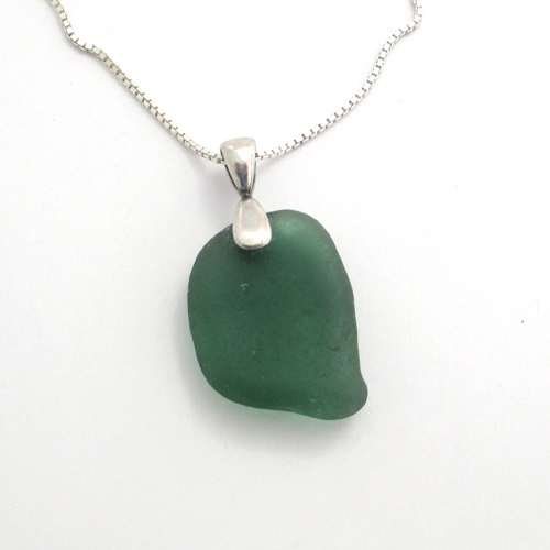 sage green sea glass necklace 1