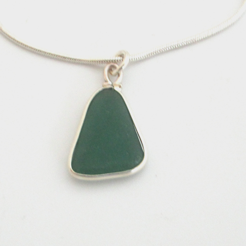 teal green sea glass necklace 1