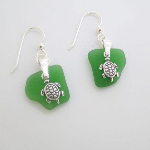 11 Kelly Green Sea Glass Earrings with Turtle charms
