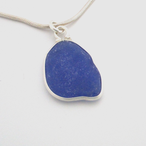 blue sea glass necklace 1