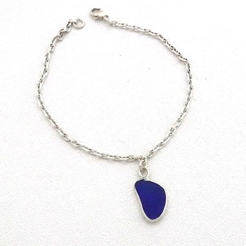 cobalt blue sea glass anklet 1