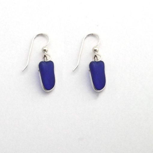 cobalt blue sea glass earrings 4