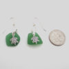 kelly green sea glass earrings with turtles 3