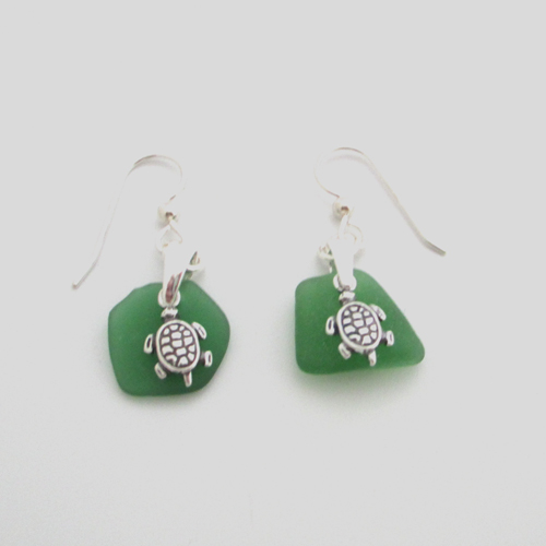 kelly green sea glass earrings with turtles
