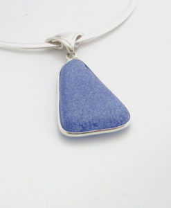 cornflower blue sea glass necklace