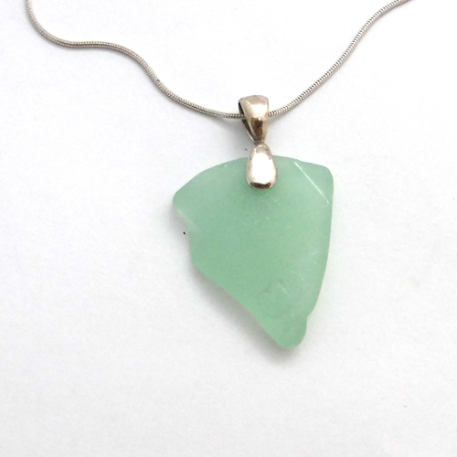 mint green sea glass necklace 1