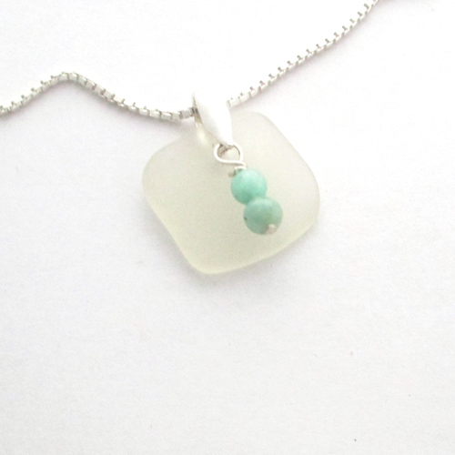 white sea glass necklace with beads 1