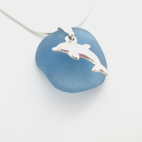 cornflower blue sea glass necklace with dolphin
