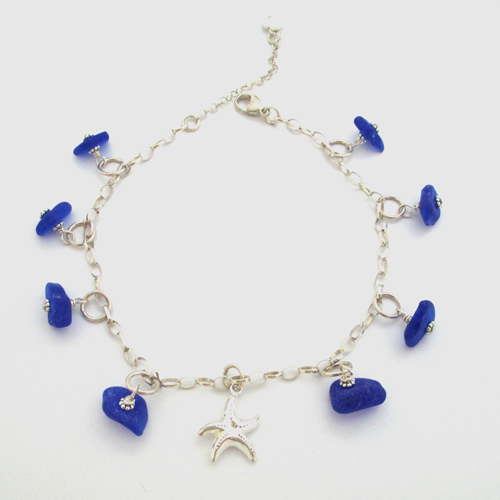 rabeeahshazad blue suede images glass heart pinterest bracelet with and on silver anklet pretty best jewelry piece sea anklets of