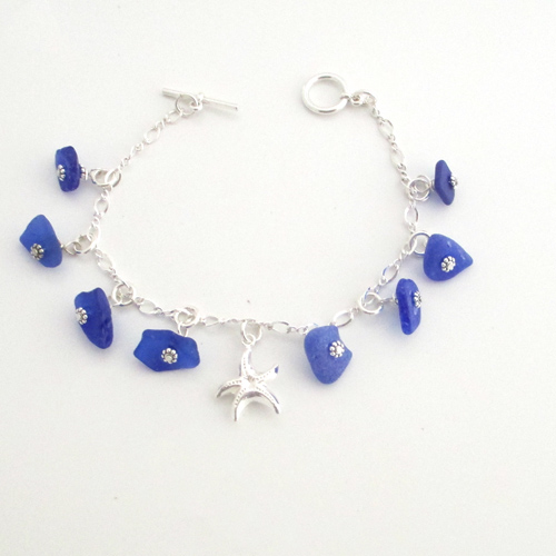 cc2523e867d8f Cobalt Blue Sea Glass and Starfish Dangle Bracelet