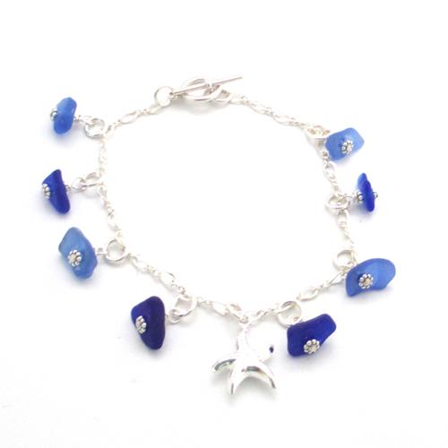 cobalt blue sea glass dangle bracelet 1