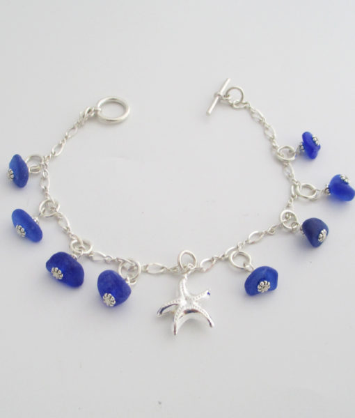 cobalt blue sea glass dangle bracelet with starfish