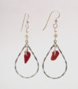 Red sea glass earrings1