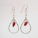 Red sea glass earrings1