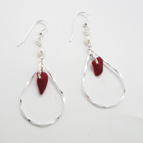 red teardrop sea glass earrings