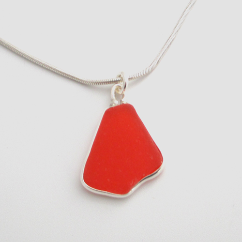orange sea glass necklace