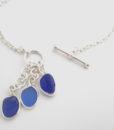 three piece blue sea glass drop necklace1