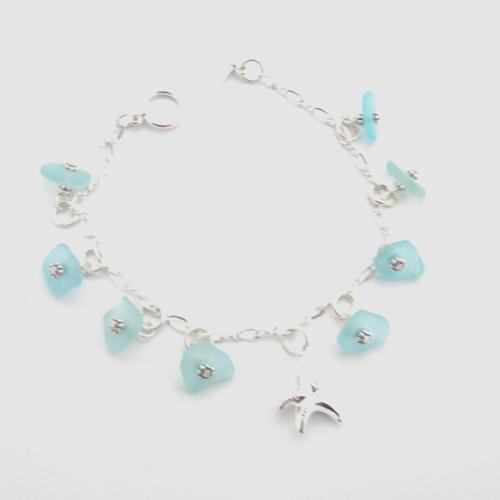Turquoise sea glass dangle bracelet 1