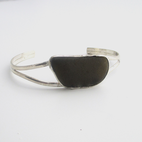 black-sea-glass-cuff-bracelet