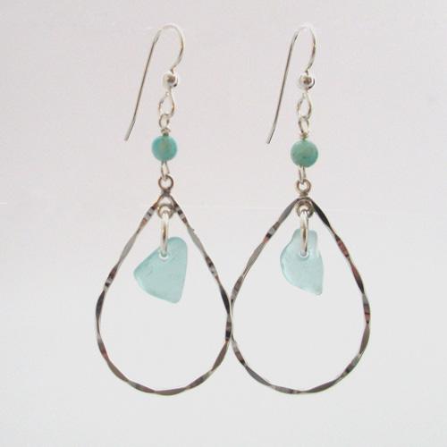 turquoise dangle sea glass drop earrings