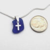 cobalt blue sea glass necklace with cross 3