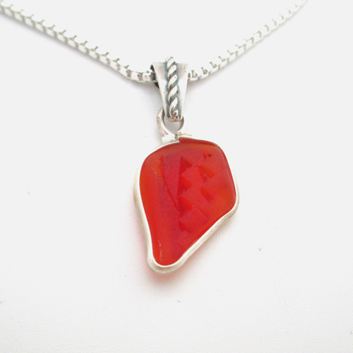 red sea glass necklace1