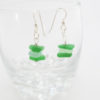sea glass stacked green earrings 3