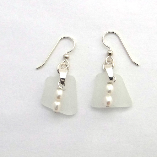 white sea glass earrings 1
