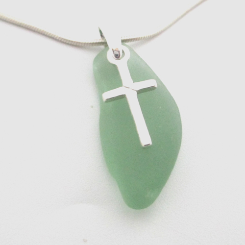 apple green sea glass necklace with cross
