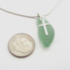 apple green sea glass necklace with cross 3