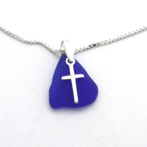 blue sea glass necklace with cross 1