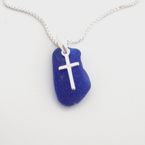 cobalt blue sea glass necklace with cross 1
