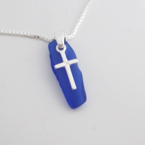 cobalt blue sea glass necklace with cross1