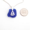 cobalt blue sea glass necklace with sailboat 5