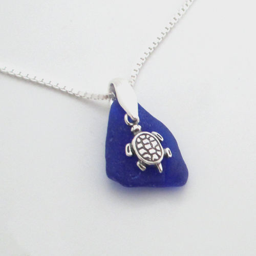 cobalt blue sea glass necklace with turtle 1