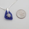cobalt blue sea glass necklace with turtle 3