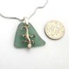 green sea glass necklace with geicko 3