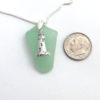 mint green sea glass necklace with lighthouse 3